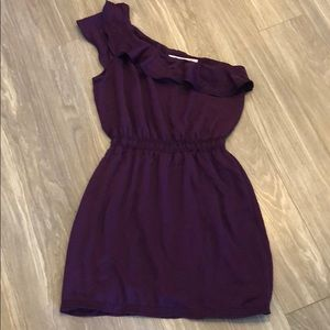 Purple one shoulder ruffle dress
